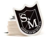 S&M Medium Shield Sticker / Black/White