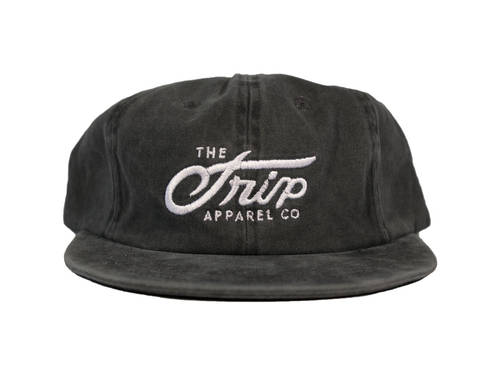 The Trip Script 6 Panel Hat Faded Black